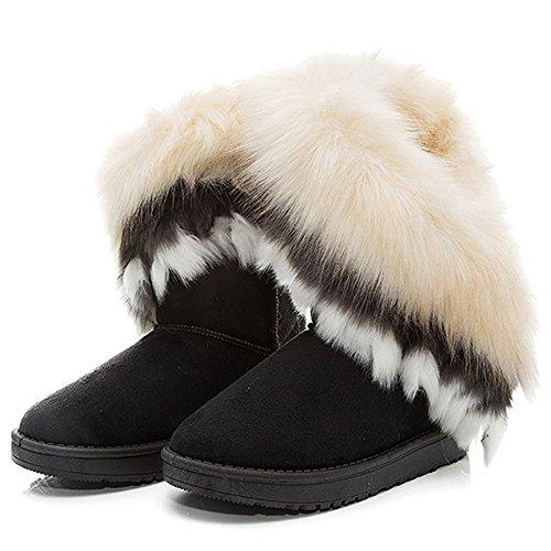 Cheville Chaussures Neige Long Boots Flat Bozevon Femme Mode Hiver Bottines Chaudes Noir Fourrure wFIUnAqvn