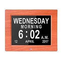 Véfaîî 2UI- Large Day Clock Digital Calendar for Memory Loss Elderly Seniors Dementia Alzheimers Vision Impaired Patients 5 Alarms+3 Medicine Reminders, Gift for Birthday Christmas (WoodGrain)
