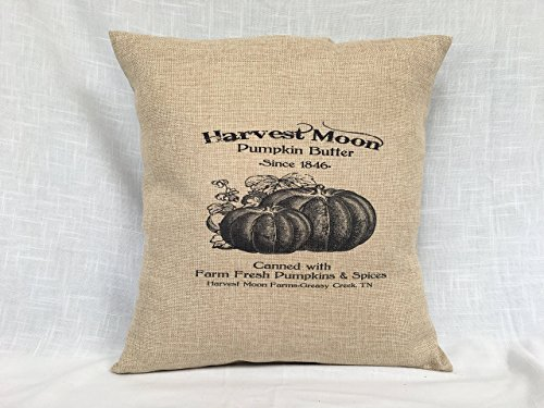 Burlap pillow cover with autumn vintage image design harvest moon pumpkin butter by Shadow Mountain Farms