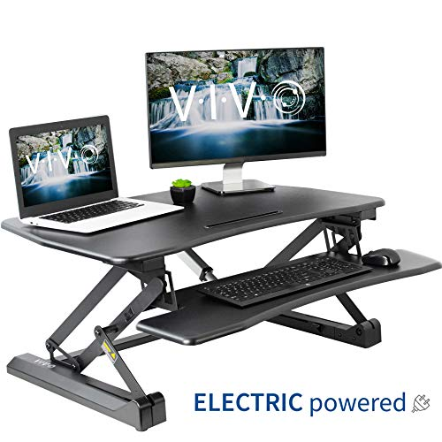 VIVO Black Electric Height Adjustable 36 inch Standing Desk Converter | Sit Stand Tabletop Dual Monitor and Laptop Riser Workstation (DESK-V000EB) (Standing Wall Desk)