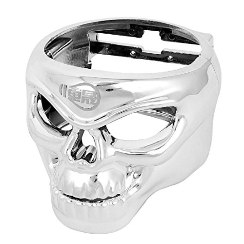 Vehicles Auto Plastic Skull Drink Cup Bottle Holder Silver Tone