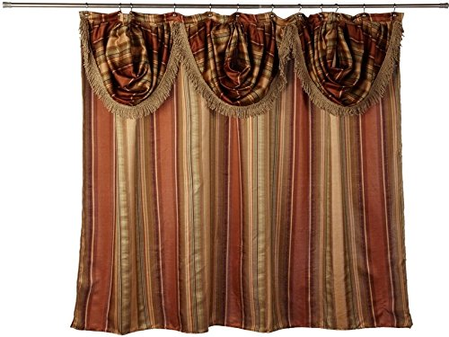 Shower Curtain Valance (Sweet Home Collection Popular Bath Fabric Bathroom Shower Curtain with Valence, 0, Contempo Spice)