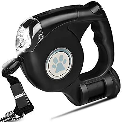 Baby-Run 3 in 1 Retractable Dog Leash With LED Light and Waste Bag Dispenser, Thick & Adjustable 16.4 Foot Leashes