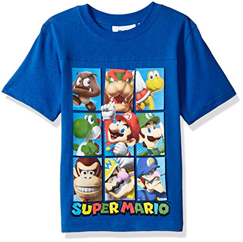 Nintendo Little Boys Super Mario Characters T-Shirt, Blue, 7