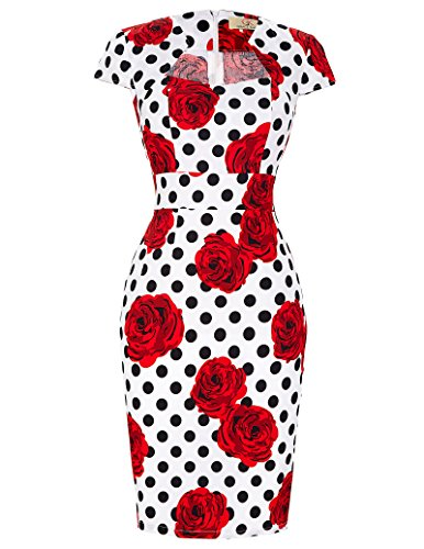 Belle Poque Retro Dress Elegant Evening Party Dress Floral Printed Keen-Length Size L CL7597, Fr-12( Cotton + Spandex )