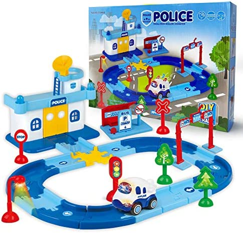 Edenseelake Race Car Track for Kids Boy Toy Police Theme Cars Toys Playset for 3 4 5 6 7 8 Year and Up Old Boys Girls Gifts