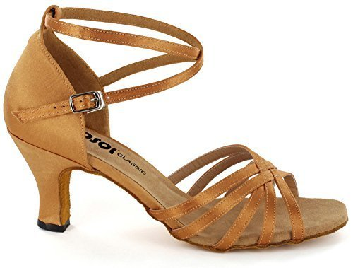 1/2 Inch Sexy Strappy Shoes - DSOL Latin Sandal DC261303 Heel 2.2'' (8, Tan)