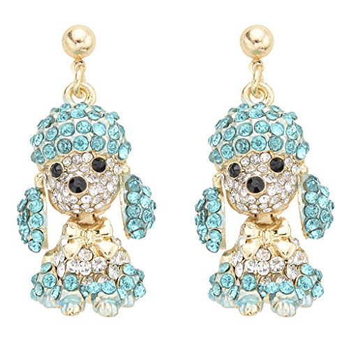 (EVER FAITH Women's Austrian Crystal Adorable Animal Poodle Bow-tie Dangle Earrings Blue Gold-Tone)
