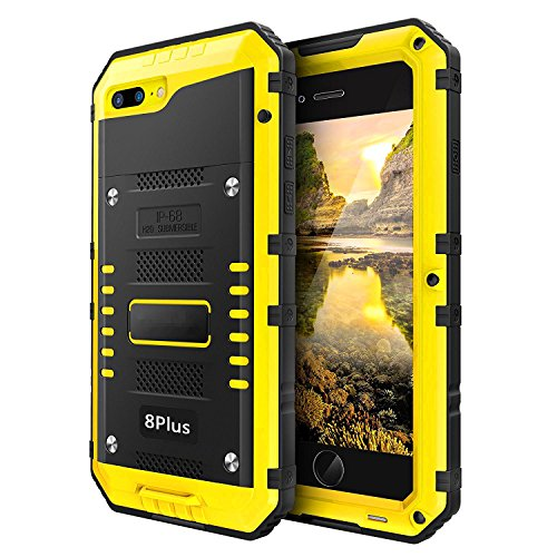 iPhone 8 Plus / 7 Plus Waterproof Case Heavy Duty with Built-in Screen Full Body Protective Shockproof Drop Proof Hybrid Hard Cover Military Outdoor Sport for Apple iPhone 8 Plus / 7 Plus (Yellow) (Best Drop Proof Iphone 8 Case)
