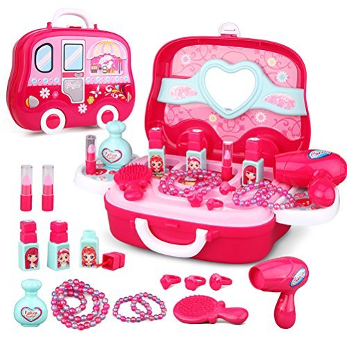 Role Play Jewelry Kit for Girls Toy Set Princess Suitcase Gift for Kids Children 3 Years Old by YIMORE