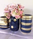 Cheap Set of 3 Navy Blue and Gold Painted Mason Jars Centerpieces, Nautical Rustic Wedding Decorations, Bridal, Shabby Chic Baby Shower, Vanity Storage