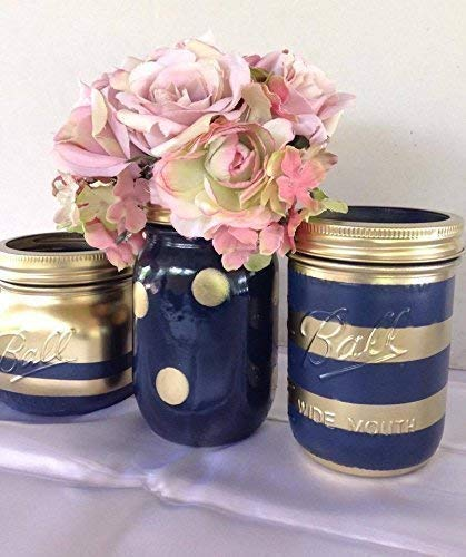 Set of 3 Navy Blue and Gold Painted Mason Jars Centerpieces, Nautical Rustic Wedding Decorations, Bridal, Shabby Chic Baby Shower, Vanity Storage ()
