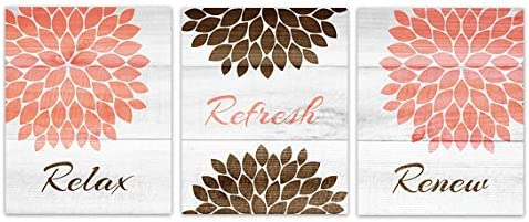 Amazon Com Wall Art Boutique Relax Refresh Renew Coral And Brown Bathroom Decor Bath114 Posters Prints