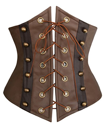 [Charmian Women's Steampunk Retro Faux Leather Victorian Waist Training Underbust Corset Brown] (Brown Leather Corset)