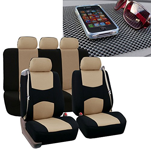 FH GROUP FH-FB351115 All Purpose Flat Cloth Built-In Seat Belt Seat Covers Beige/ Black Color, Airbag compatible and Split Bench W. FH1002 Non-Slip Dash Pad- Fit Most Car, Truck, Suv, or Van