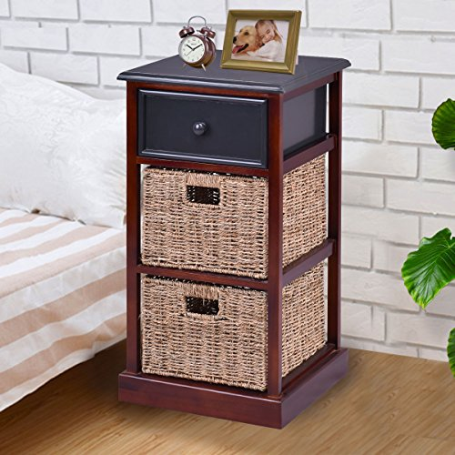 Giantex 3 Tier Nightstand with 1 Drawer 2 Basket Wood Living Room Bedside Table, Red Brown