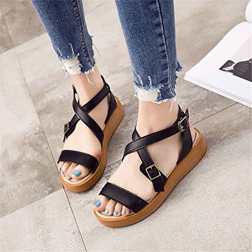 Sandalias Planas Mujer Retro Sandalias Sandalias Zapatos De Moda Aprender Negro