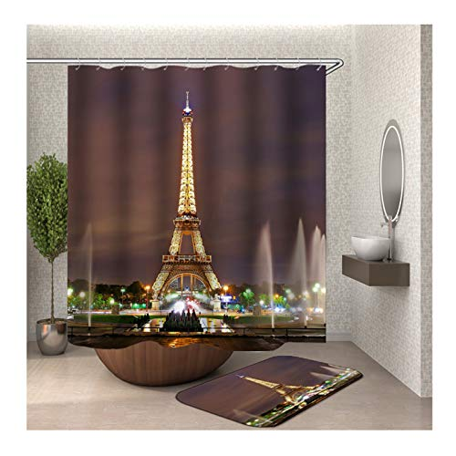 Gnzoe Polyester Waterproof 2 Pack Shower Curtain and 16