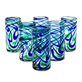 NOVICA Blue and Green Swirl Hand Blown Glass Highball Glasses, 11 oz, 'Elegant Energy' (set of 6)