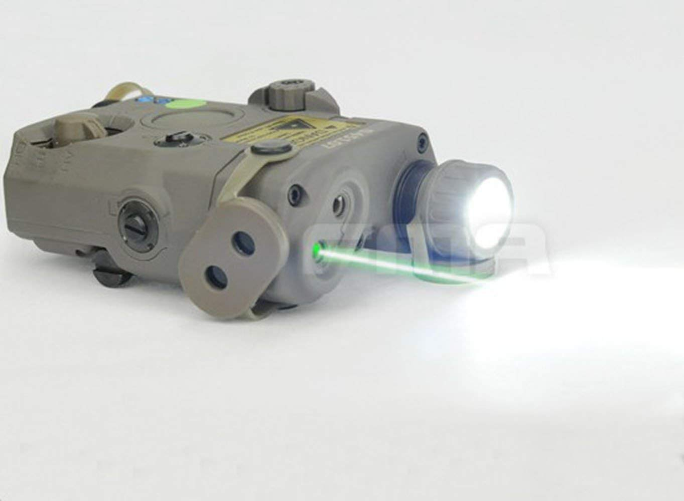H World Shopping Airsoft Version PEQ LA5 Upgrade Version LED White Flashlight + Grn laser w/ IR AEG GBB CQB FG