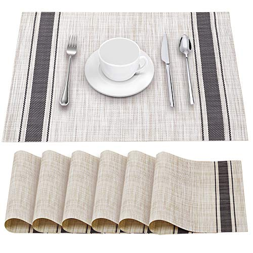 YOSICHY Table Mats Set of 6 Crossweave Woven Vinyl Placemats Heat Resistant Non-Slip Kitchen Placemats for Dining Table Washable Easy to Clean(Grey)