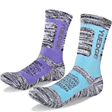 YUEDGE Women's 2 Pairs Wicking Breathable Cushion Casual Crew Socks Outdoor Multi Performance