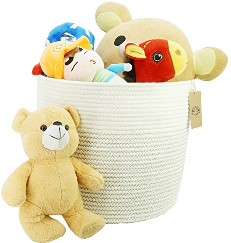 Storage Baskets(Cotton Rope Basket) - Baby Laundry Basket with Handle for Diaper Toy Cute Neutral Home Decor Addition Diaper To(15'' x 13'') ELLIE'S by DLXXV PRODUCTS