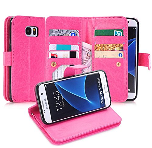 Galaxy S7 Edge Case, Asstar [Card/Cash Slots] Built-in 9 Slots Heavy Duty Protective Shock Resistant Luxury PU Leather Case Flip Cover case for Samsung Galaxy S7 Edge (HOT PINK)