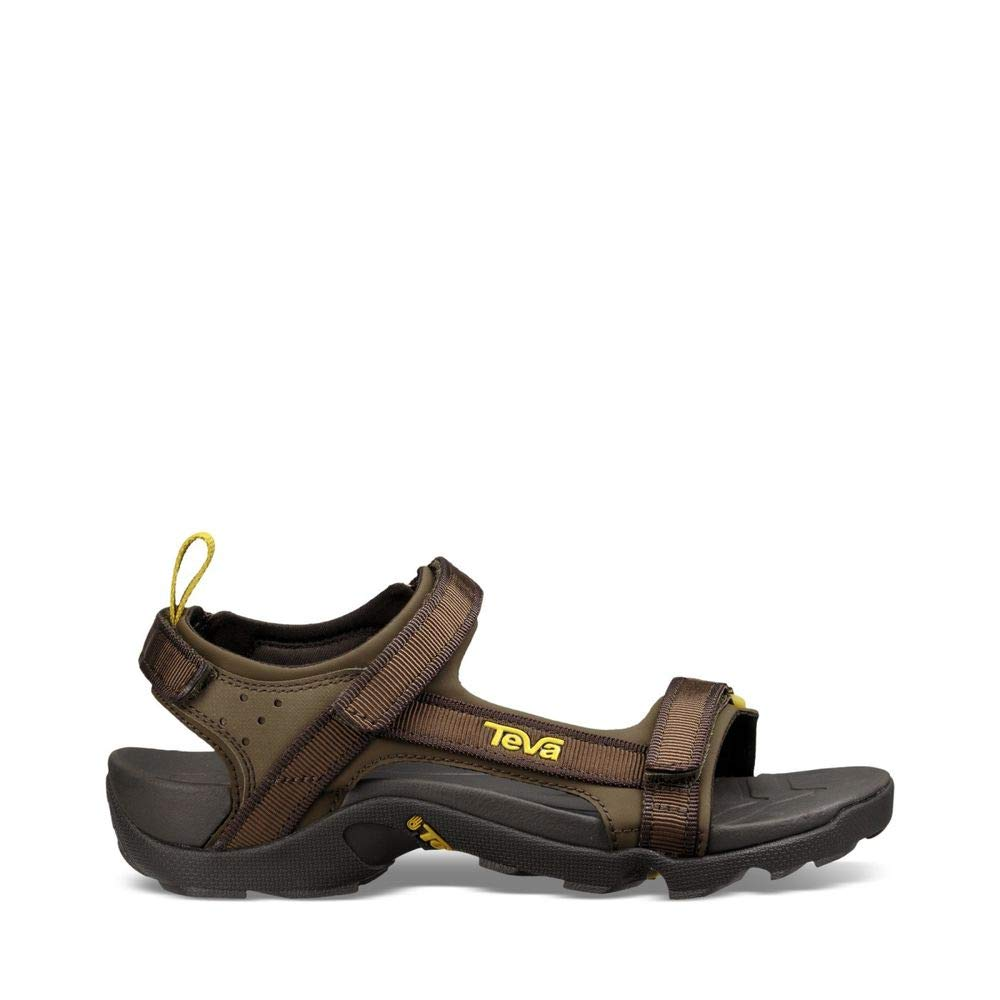 Teva Boys' Y Tanza Sport Sandal, Black Olive, 4 M US Big Kid