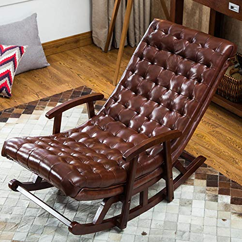 Lazy Sofa Living Room Balcony Lunch Break Single Solid Wood Leather Sofa Recliner European Sofa Rocking Chair New -