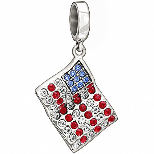 Pugster American Flag - Sterling Silver with Stone - American Flag