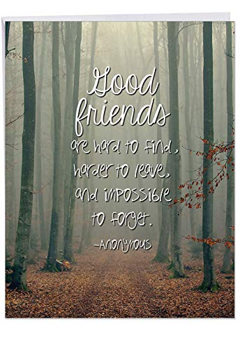 Friendly Words Friends Birthday' Greeting Card with Envelope 8.5 x 11 Inch - Good Friends - Friendship Quote - Nature Design Stationery Set for Personalized Happy Bday Greetings and Message J6618ABDG