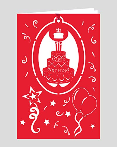 Crystal Delight by Mascot (Set of 3) Greeting Card with Ornament - Happy Birthday