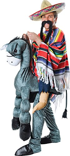 Man Riding Donkey Costume (Men's Animal Fancy Party Hey Amigo Mexican Riding Horseback Mascot Costume)