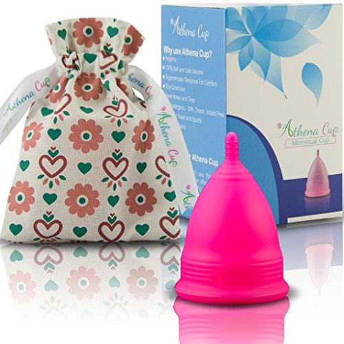 Athena Menstrual Cup - includes Bonus Bag - Solid Pink