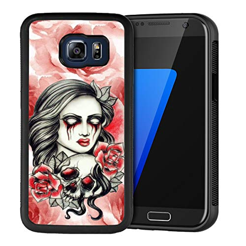 Halloween Make up Samsung Galaxy S6 Edge Plus Case TPU Black Shockproof Slim Anti-Scratch Protective Rugged Case Non-Slip Grip Cover for Samsung Galaxy S6 Edge Plus -