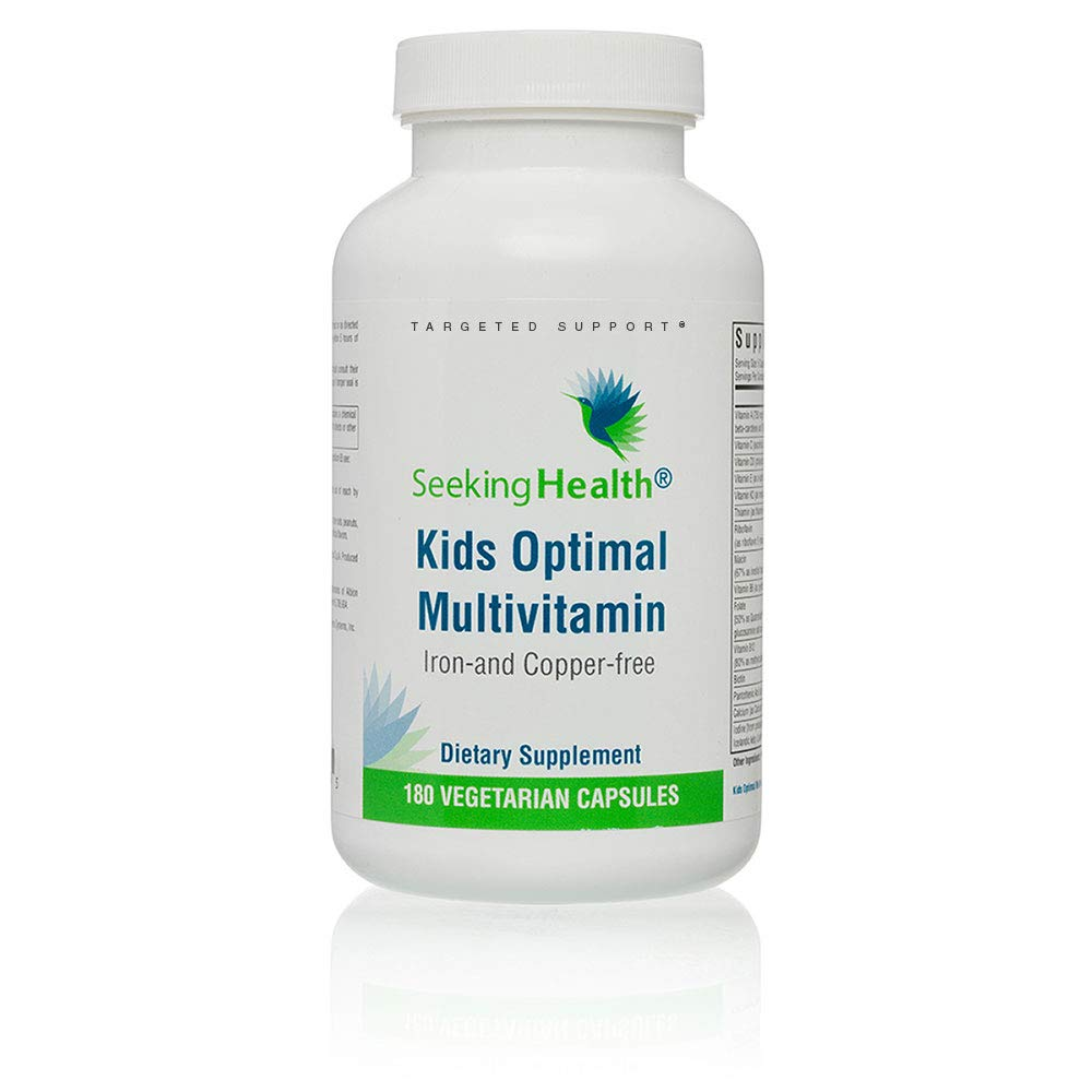 Seeking Health | Kid's Optimal Multivitamin | Potent Nutrients & Bioavailable Vitamins Formulated for Children | Iron-and Copper-Free | Free of Common Allergens | 180 Vegetarian Capsules | 30 Servings