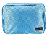 Jimeale New York NY Houston Cosmetic Bag, Blue with White and Brown C
