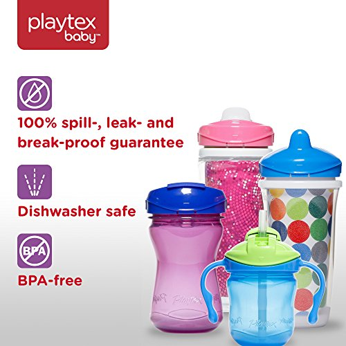 Playtex Sipsters Stage 3 Milk and Water Spill-Proof, Leak-Proof, Break-Proof Insulated Toddler Straw Sippy Cup Set, 9 Ounce - 2 Count by Playtex (Image #3)