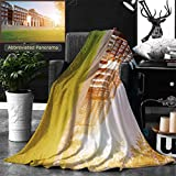 Ralahome Unique Custom Double Sides Print Flannel Blankets Hall Building In College Super Soft Blanketry for Bed Couch, Twin Size 70 x 60 Inches