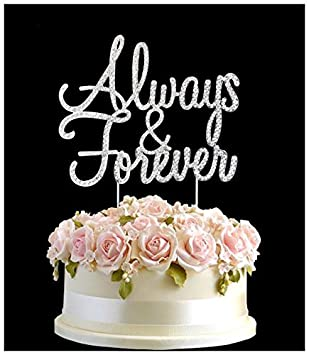 Rhinestone Always Forever Wedding Birthday Cake Topper Number Pick Happy Anniversary Diamante Gems Decoration