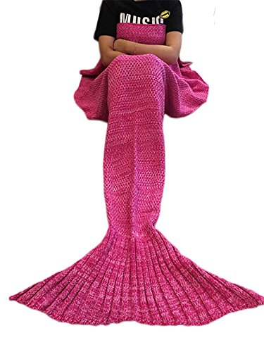 Mermaker ®Beautiful Knitting Mermaid Blanket All Seasons Sleeping Bag for Adult and Kids 56″x28″Rose Red