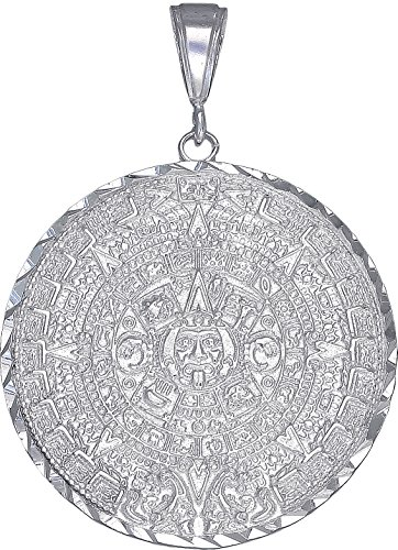 eJewelryPlus Sterling Silver Aztec Calendar Mayan Sun Charm Pendant Necklace Diamond-Cuts (With 24