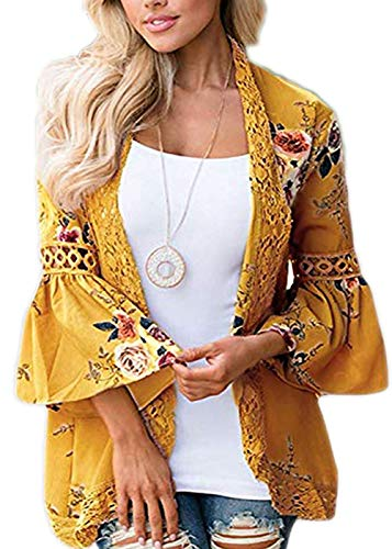 RJXDLT Womens Floral Print Kimono Cardigan Loose Puff Sleeve Cardigans Patchwork Cover Up Blouse Top Yellow L 213