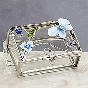 StealStreet SS-A-38107, New Blue Butterfly Decoration Jewelry Box Container Jewel Ring Holder