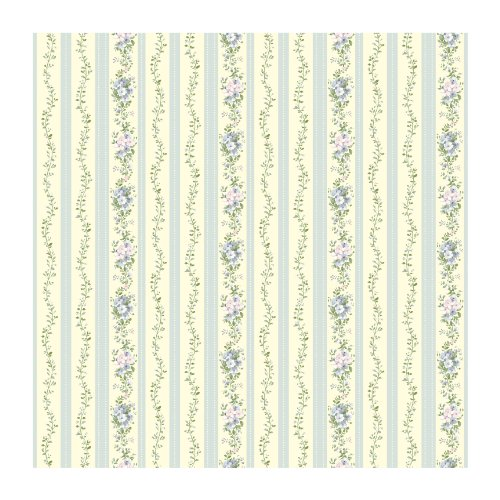 York Wallcoverings SM8588 Small Treasures Flower Vines and Dotted Stripes Prepasted Wallpaper, Cream/Blues/Greens/Lavender - Blue Vine Stripe