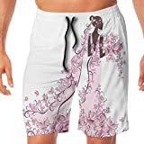 Haixia Men's Funny Board Short Wedding Decorations Flowers Hearts Butterflies O