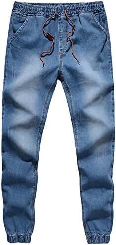 BULUOLANDI Men's Elastic Stretch Ripped Jogger Denim Pants