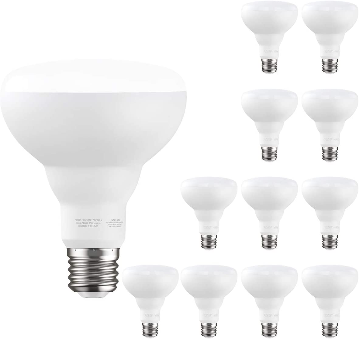 12 Pack Flood Light Bulb Dimmable, BR30 E26 LED Bulb, 10W 750lm, 65W Equivalent, 2700K Soft White Indoor Recessed Can Light Bulb for Ceiling, Bedrooms, Kitchens, Living Rooms