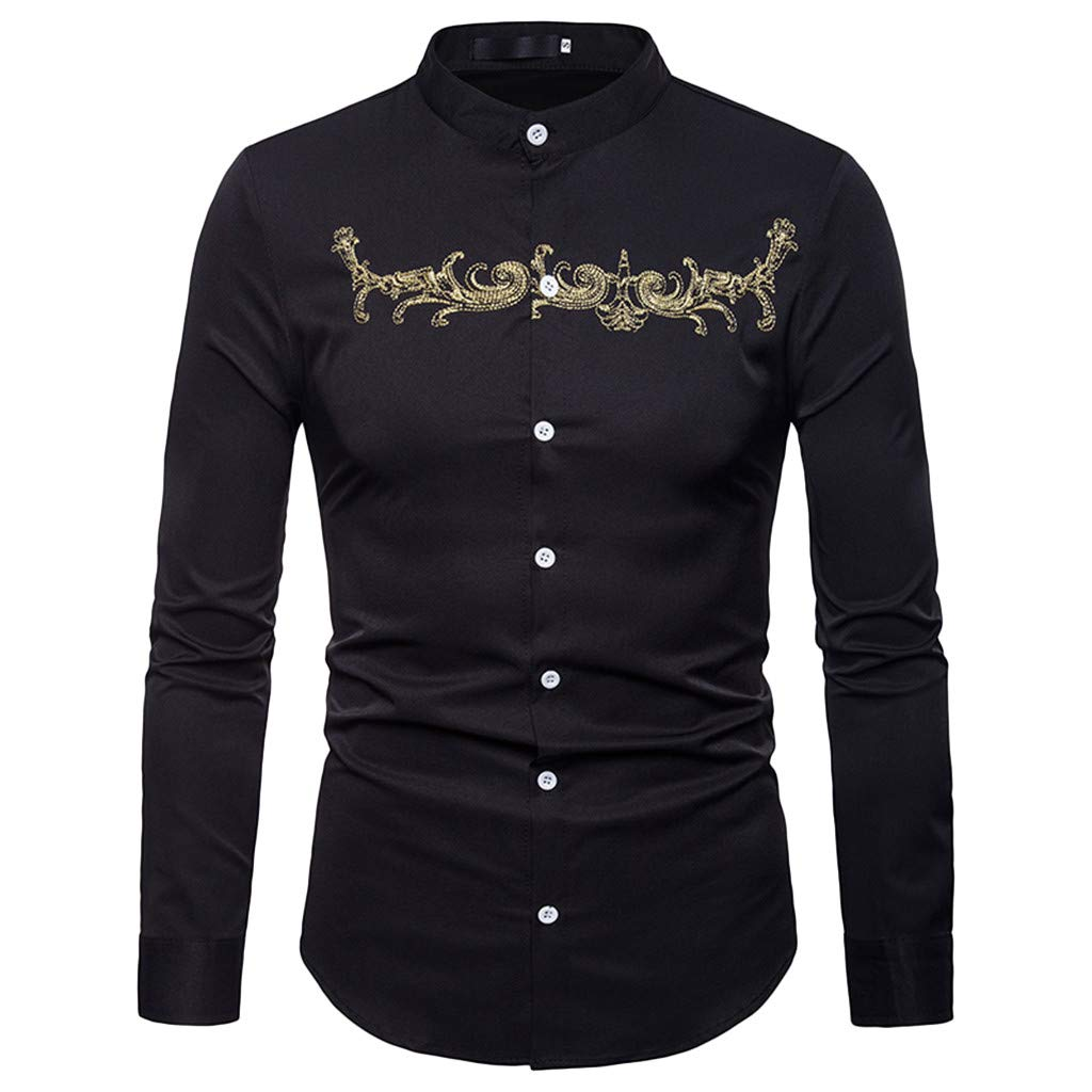 Corsion Mens Casual Long Sleeve Gold Embroidery Blouse Male Button Dress Shirt Top